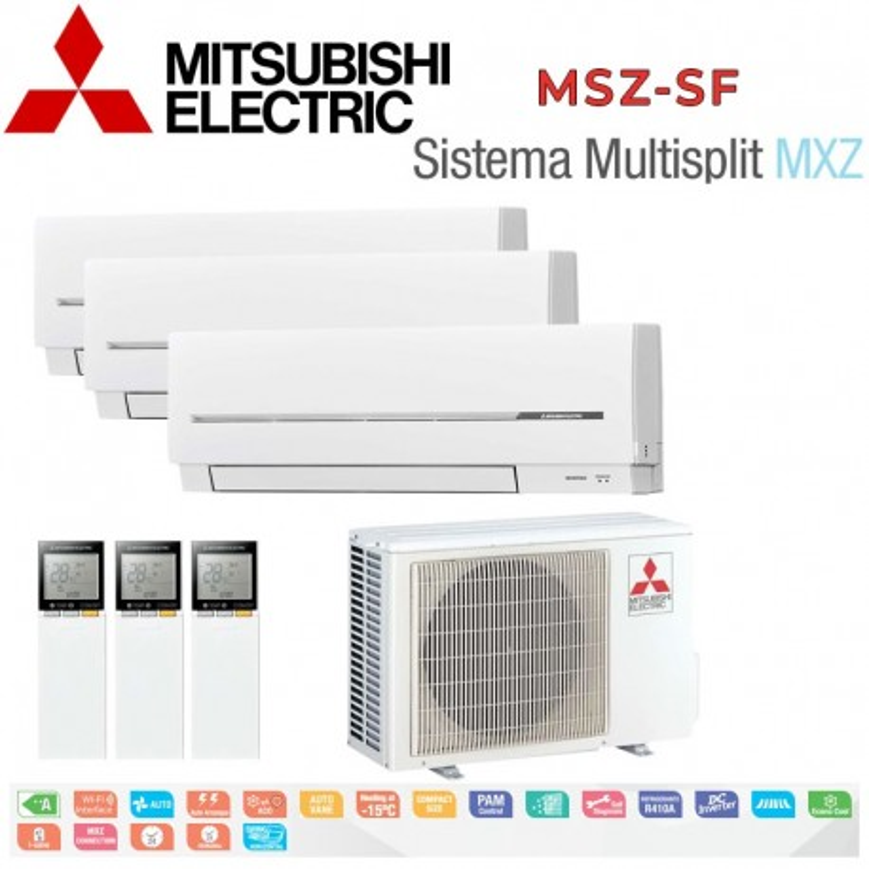 Mitsubishi Electric 3x1 MSZ-SF20VA + MSZ-SF35VA + MSZ-SF35VA + MXZ-3E54VA
