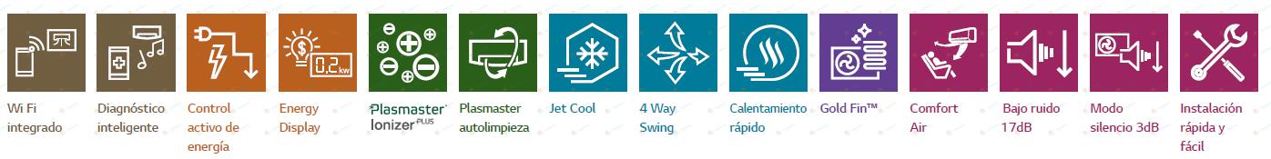 Etiquetas que muestran las características de la gama LG ART COOL MIRROR CONNECT